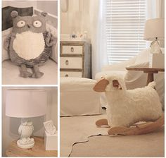 White and Grey Nursery then add pink or blue... Awesome rocking sheep!