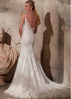 Elegant Lace Spaghetti Straps Neckline Natural Waistline Mermaid Wedding  Dress With Lace Appliques Spaghetti Hihna Hääpuku 38a63ed0c2