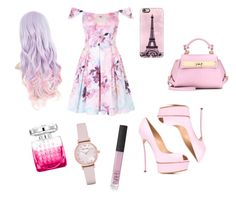 """Outfit rosa"" by turbopeka on Polyvore featuring moda, Jimmy Choo, Emporio Armani, Casetify, Casadei, NARS Cosmetics y Salvatore Ferragamo"