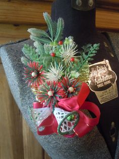 Vintage Christmas Corsage Green And Red / In by TakeAdVintage, $18.50
