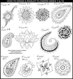How to Draw Paisley Flowers Index 1 to 12 by *Quaddles-Roost on deviantART Use with zentangles