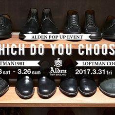 2017/03/31 09:20:23 takuminmin 本日からALDEN POP UP EVENT 「WHICH DO YOU CHOOSE?」スタートします!! 一生物の革靴一足どうでしょうか。 同時にシューケアのイベントもありますので、お持ちの手入れの仕方のわからない革靴や汚れた革靴1人一足まで磨かせて頂きますので是非!! #alden#オールデン #レザーシューズ#革靴 #シューケア #loftman#ロフトマン #loftmancoopumeda #ロフトマンコープ梅田店  #osaka#大阪#fashion#洋服#mensfashion#メンズファッション #selectshop#セレクトショップ #umeda#梅田