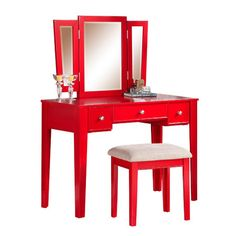 Add your finishing touches before starting your day or heading out for an evening of fun with this pine wood vanity set that includes a cushioned stool. T...