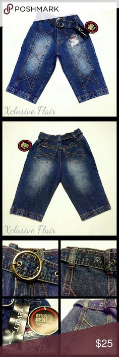 New Girl's Capri Jeans * New never worn with tags * Front zipper and button closure * Belt loops * Belt * Splits in bottom of both legs * Back pockets * Elastic waistband Revolt Bottoms Jeans