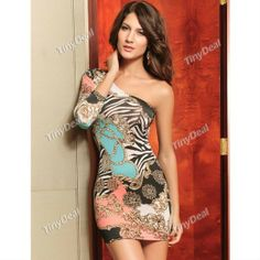 Sloping Shoulder Style One-piece Dress for Girl