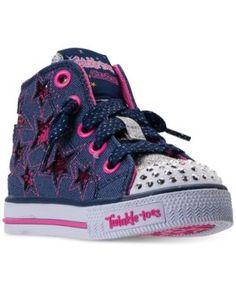 Skechers Little Girls' Twinkle Toes: Shuffles - Li'l Rockin' Star High Top Casual Sneakers from Finish Line - BLUE/PINK