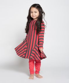 Red & Charcoal Frankie Dress - Toddler & Girls