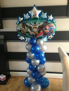 Super hero balloon column xx Balloon Arrangements, Balloon Decorations, Birthday Decorations, Balloon Ideas, Superhero Balloons, Superhero Party, Its A Boy Balloons, Love Balloon, Balloon Columns