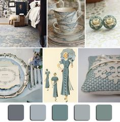"""Dusty Blue"" Mood Board Monday via @HGTV  #Blue #InteriorDesign #MoodBoardMonday"