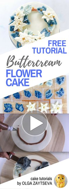 HOT CAKE TRENDS How to make Buttercream Poinsettia Christmas cake - Cake decorating tutorial by Olga Zaytseva. Learn how to make buttercream poinsettia and create this Christmas wreath cake in blue.