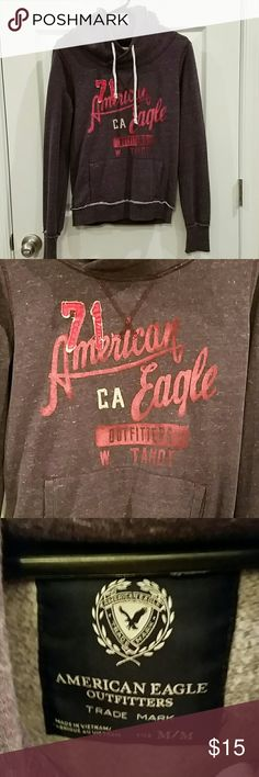 Women's American Eagle Outfitters Hoodie Purple M NWOT purple American Eagle hoodie with pink graphic writing. Very soft inside with pocket on outside. American Eagle Outfitters Tops Sweatshirts & Hoodies
