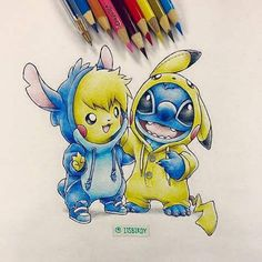 Pikachu and stitch, love this artists style