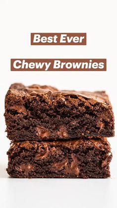 Chewy Brownies, Best Brownies, How To Make Brownies, Chocolate Fudge Brownies, Healthy Brownies, Brownie Desserts, Gluten Free Brownies, Brownie Cake, Best Brownie Recipe