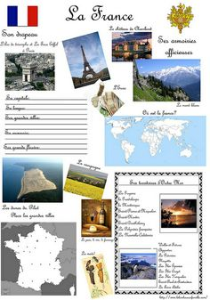 Fiche d'identité des pays: La France French Teacher, Teaching French, French Trip, Flags Europe, French Worksheets, World Thinking Day, French Classroom, Kids Around The World, French Language Learning