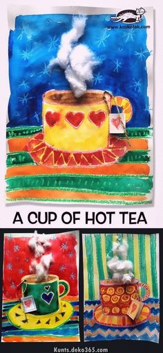 A cup of hot tea - Winter - Kunst Christmas Art Projects, Winter Art Projects, Winter Crafts For Kids, Kids Crafts, Art For Kids, Classroom Art Projects, School Art Projects, Art Classroom, Tee Kunst