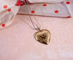 Heart necklace Avon 1983 vintage gold tone by FrogTears on Etsy