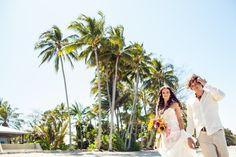 Our beach wedding in North Queensland, Australia. Wedding dress by Andrea Gorrie for sale! More pics at http://muuttolintu.com/2015/11/22/meidan-rantahaat-australiassa/