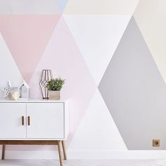 [New] The 72 Best Home Decor Ideas Today (with Pictures) - Geometric & stripes Girl Bedroom Walls, Bedroom Colors, Bedroom Decor, Wall Decor, Room Wall Painting, Kids Room Paint, Wall Paint Inspiration, Geometric Wall Paint, Stencil Decor
