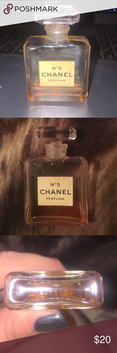 Chanel No 5 AUTHENTIC Perfume This is vintage and authentic- Was my grandmothers. There is not much left in it but it's a really cute little Chanel bottle- It is extremely old. Bottle size is 1/2 fl oz. Maybe someone would love a vintage perfume bottle or refillable mini;) CHANEL Makeup