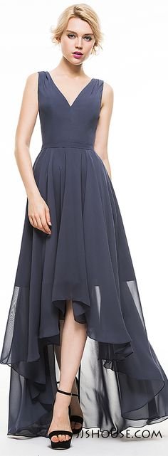 Legs Out! Let your legs out and take a breath through the flowing chiffon and asymmetrical hemline. #JJsHouse