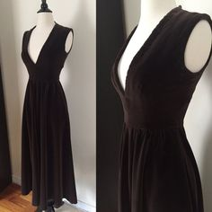 I ADORE this Etsy shop! 1960s Brown Velvet Gown / 60s Maxi Dress / X-Small Small / Pockets