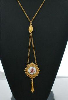 Vintage Signed Art Lavalier Necklace Guilloche Enamel Rose Pendant Designer Gold