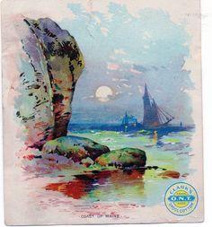 Clark's ONT Spool Cotton Victorian Trade Card Coast Of Maine 1887
