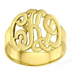 Personalized Initials Ring Sterling Silver w/ 24K Gold Overlay $75