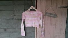 Women's long sleeve crop top. Pink & green. Size 8