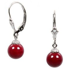 8mm Red Coral Ball Drop Leverback Earrings 14K White Gold - Trustmark Jewelers