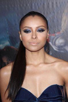 Smokey blue eyes nude lips - wedding makeup for black/African American women