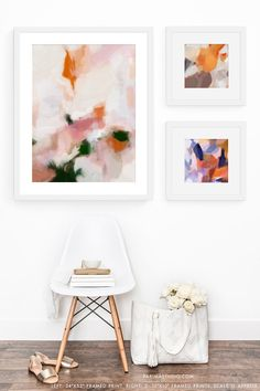 Gallery wall with framed abstract art prints by Parima Studio