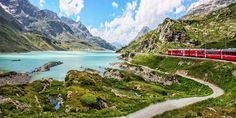 Bernina Express, Lago Bianco, Graubunden, Switzerland (Credit: Melinda Moore/Getty)