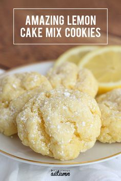 Lemon Cake Mix Cookies These lemon cookies taste like heaven! They're super soft and super easy to make with just 5 ingredients. Mélanges Pour Cookies, Lemon Cookies Easy, Lemon Cake Mix Cookies, Cake Mix Cookie Recipes, Lemon Cake Mixes, Easy Cheesecake Recipes, Easy Lemon Cake, Easy Lemon Desserts, Lemon Recipes Easy