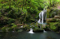 """Twin Shirabad Waterfalls""-Golestan,Iran--- by Ali Shokri,"