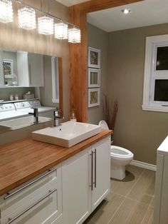 Salle d'eau/salle de lavage Bathroom Renovations, Bathrooms, My House, New Homes, Architecture, Bedroom, Kitchen, Furniture, Construction