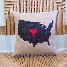Coussin USA, États-Unis oreiller, coussin love, coussin au pochoir, coussin toile de jute, oreiller de pays silhouette, coussin coeur, livraison gratuite !