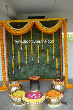 Decor by Krishna AP/ Telangana/ Karnataka/ Tamilnadu/ USA/Australia Wedding Backdrop Design, Desi Wedding Decor, Wedding Hall Decorations, Diy Diwali Decorations, Backdrop Decorations, Wedding Crafts, Flower Decorations, Mehndi Decor, Mehendi