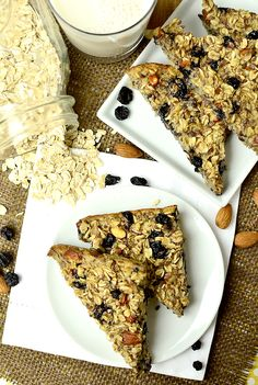 Baked Blueberry Almond Oatmeal Bars Ingredients:  1-1/2 cups old fashioned oats 1/2 cup chopped raw almonds 1/2 cup dried blueberries 1/4 cup flax seeds 1/4 cup brown sugar 1 teaspoon salt 1/2 teaspoon cinnamon 1-1/4 cups milk (I used unsweetened vanilla almond milk) 1 egg, whisked 1 teaspoon vanilla  350 for 25min