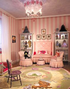 Fairy Tale: pink sitting area in a little girls room and the character's from the Wizard of Oz.