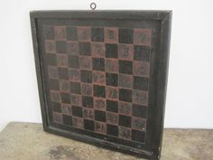 Circa 1890 Original Red and Black Paint Wood Maine Checker Game Board Primitive