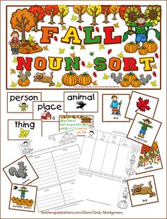 "Fall Noun Sort: Use this activity in your pocketchart and your students will love having that extra ""wiggle room"" of not having to stay seated. Great for introducing or reinforcing nouns. Nouns Kindergarten, Kindergarten Activities, Nouns Worksheet, Grammar Worksheets, Nouns And Verbs, Teacher Helper, Autumn Activities For Kids, Teaching Resources, Classroom Resources"