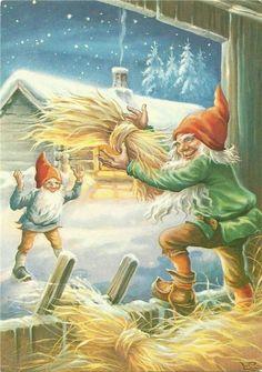 Lars Carlsson (1921-2002) Sweden Christmas Mood, Christmas Gnome, Scandinavian Christmas, Christmas Deco, Christmas Pictures, Kids Christmas, Vintage Christmas, Holiday, Christmas Illustration