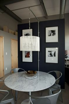 suspended chandelier, marble table, dining room, drum shade, grey