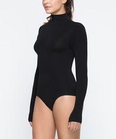 Loving this Black Turtleneck Bodysuit - Women on #zulily! #zulilyfinds