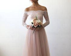 Ivory Off-The-Shoulder Lace and Tulle Train Wedding Gown 1162 - Blushfashion Pink Wedding Gowns, Unique Wedding Gowns, Affordable Wedding Dresses, Modest Wedding Dresses, Lace Weddings, Designer Wedding Dresses, Bridal Gowns, Strapless Dress Formal, Wedding Lace