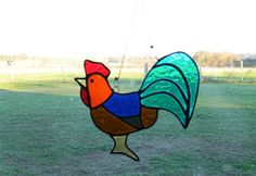 Rooster lover Chicken art, stained glass decor, window Suncatcher wedding gifts, glass bird, best selling items, decorative wall hanging art by BelleVerreBon on Etsy