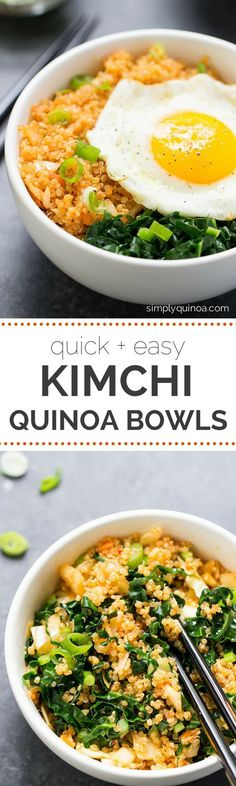 Spicy Kimchi Quinoa Bowls -- an easy lunch or dinner recipe that takes less…