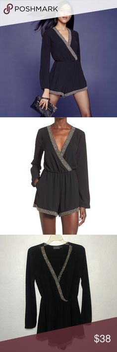 ASTR black romper with beaded trim ASTR black romper Beaded Trim  Size S  100% Polyester  Dry clean only  Ships Tomorrow  Cute for girls night out Astr Other