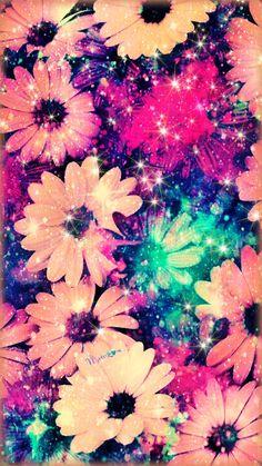 Vintage Hipster Flowers Galaxy Wallpaper #androidwallpaper #iphonewallpaper #wallpaper #galaxy #sparkle #glitter #lockscreen #pretty #pink #cute #girly #vintage #flowers #hipster #pattern #daisies #art  #colorful